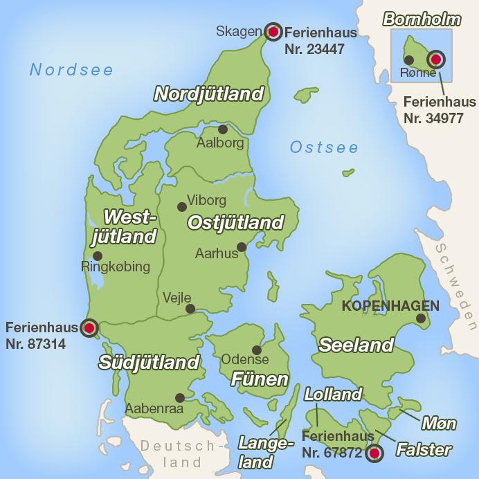 Lage der Ferienhäuser auf der Dänemark-Karte