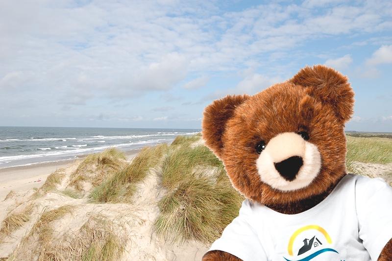 Selfie vom Urlaubär am Nordseestrand in Dänemark