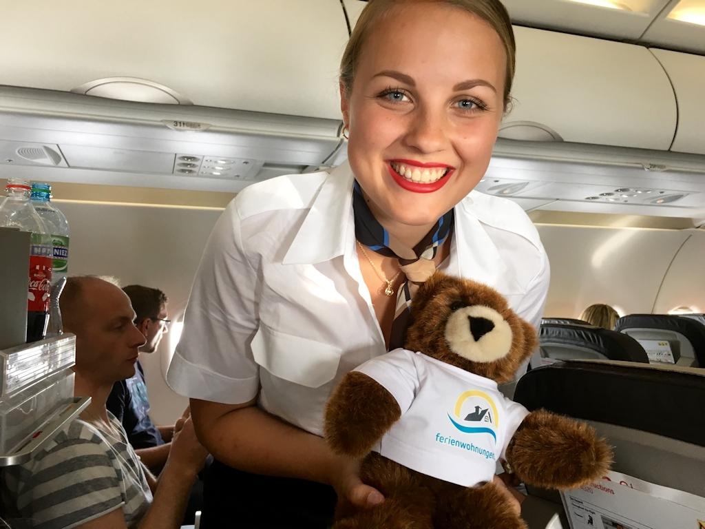 Der Urlaubär genießt seinen Flug nach Südfrankreich