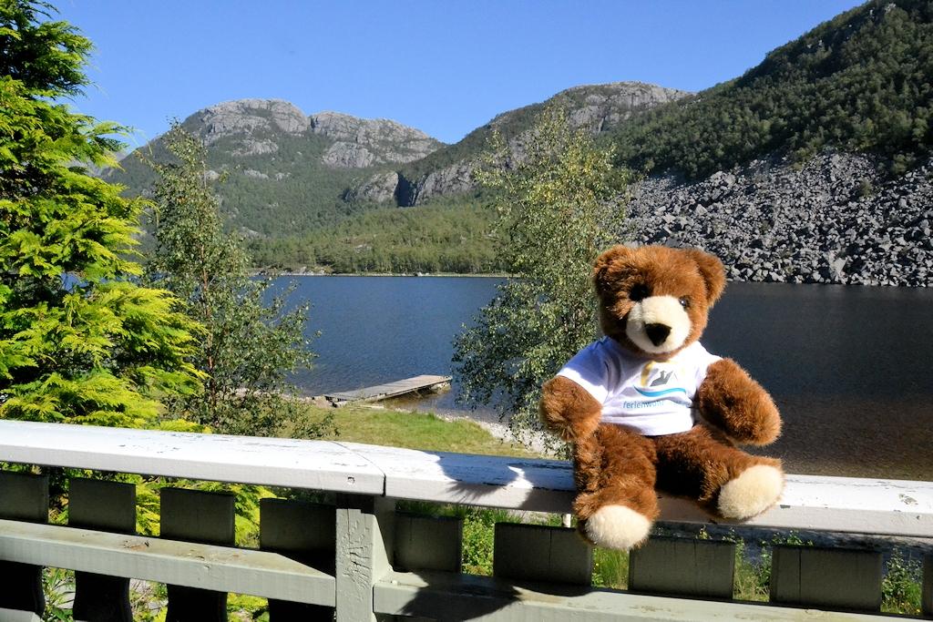 Norwegen entdecken mit dem Urlaubär - Auch der Urlaubär fühlt sich im Ferienhaus wohl!