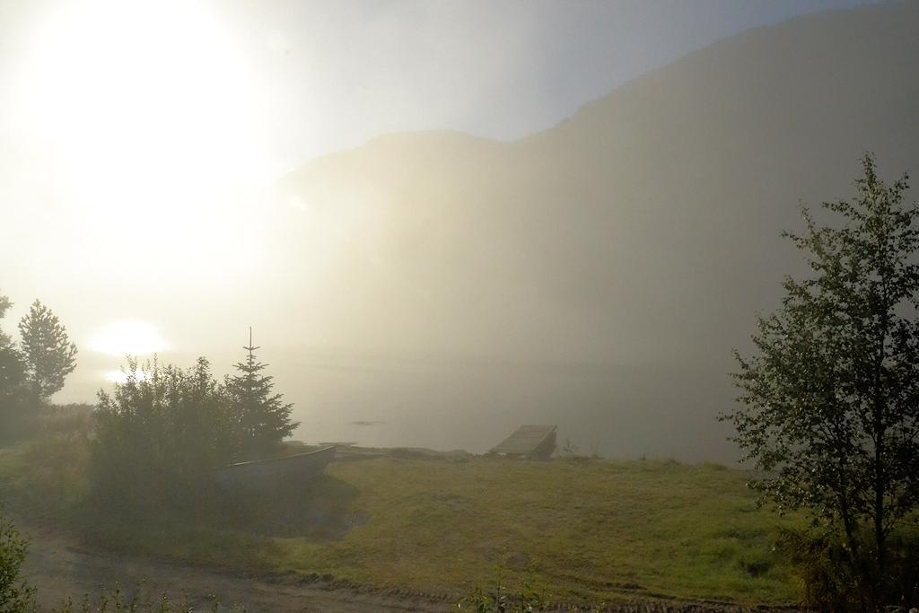 Norwegen entdecken mit dem Urlaubär - Nebel über dem See direkt am Haus