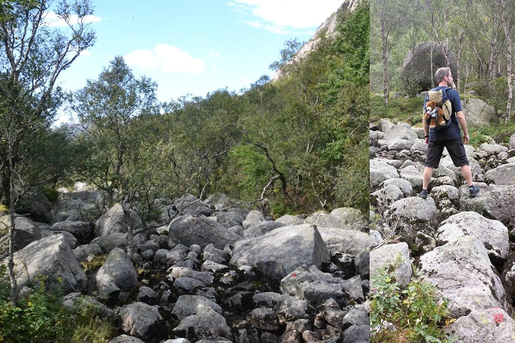 Ein alter Felssturz muss überquert werden