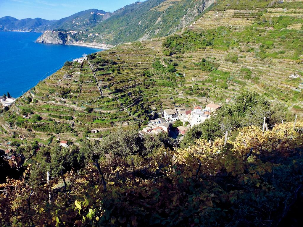 Küstenlinie mit Blick von Riomaggiore bis Monterosso al Mare