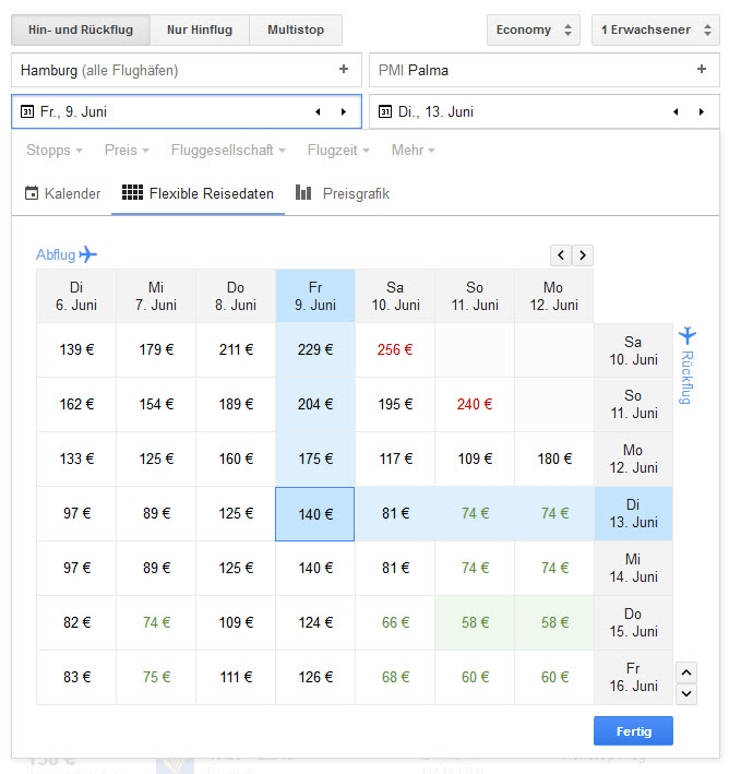 Screenshot Suchmaske Google Flights