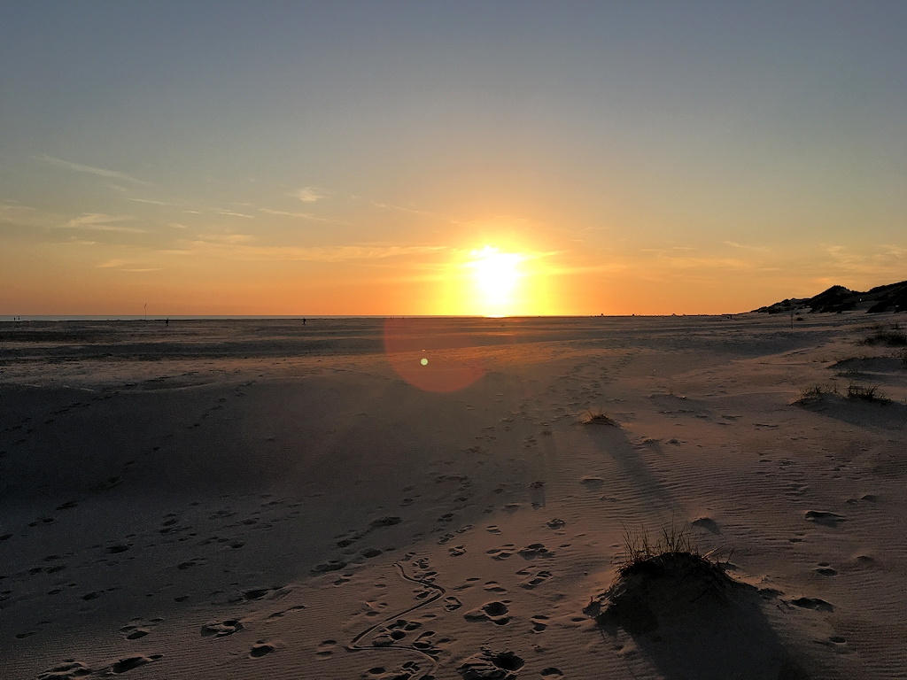 Sonnenuntergang am Kniepsand