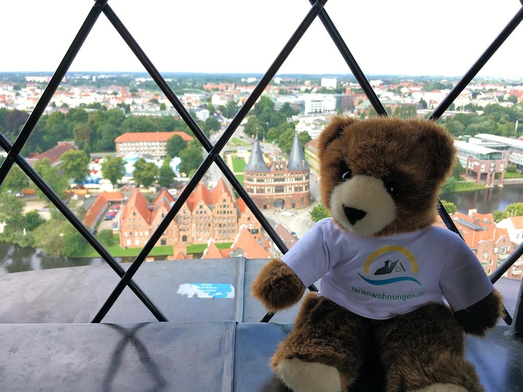 Blick vom Turm der Petrikirche auf das Holstentor