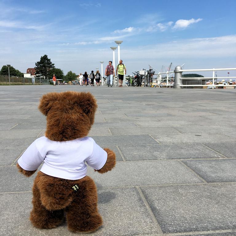 Achtung: Urlaubär auf der Promenade von Travemünde