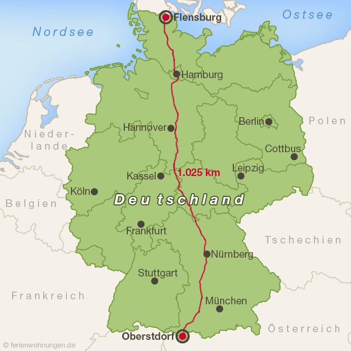 Die Strecke der Expedition1000GER durch Deutschland