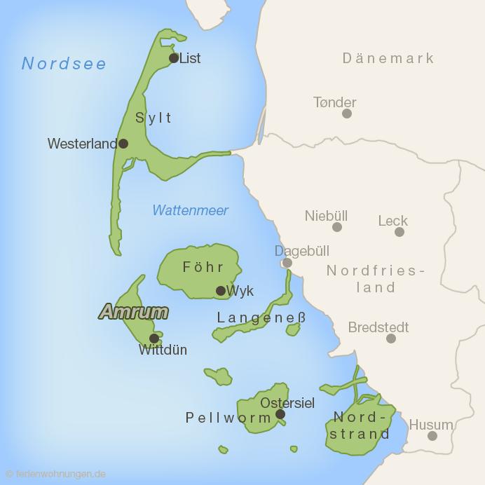 Lage der Insel Amrum im Wattenmeer vor der nordfriesischen Küste