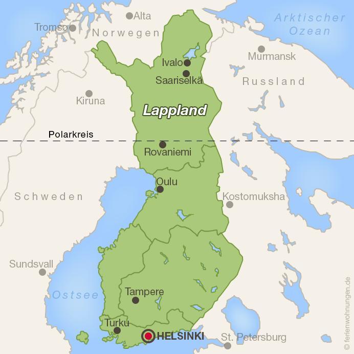 Karte von Finnland mit Lappland
