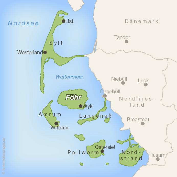 Lage der Insel Föhr im Wattenmeer vor der nordfriesischen Küste