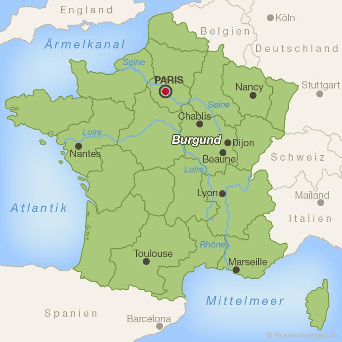 Lage der Region Burgund in Frankreich