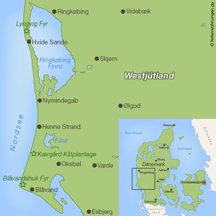 Dänemark im Herbst - Karte der Westküste von Dänemark