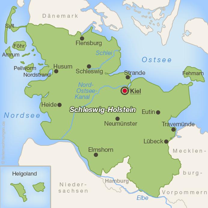 Lage von Kiel in Schleswig-Holstein