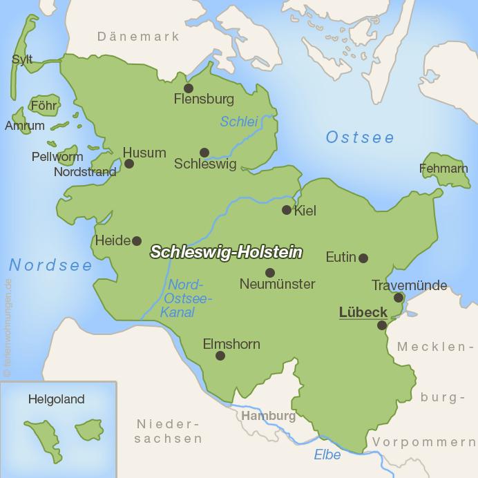 Lage von Lübeck in Schleswig-Holstein