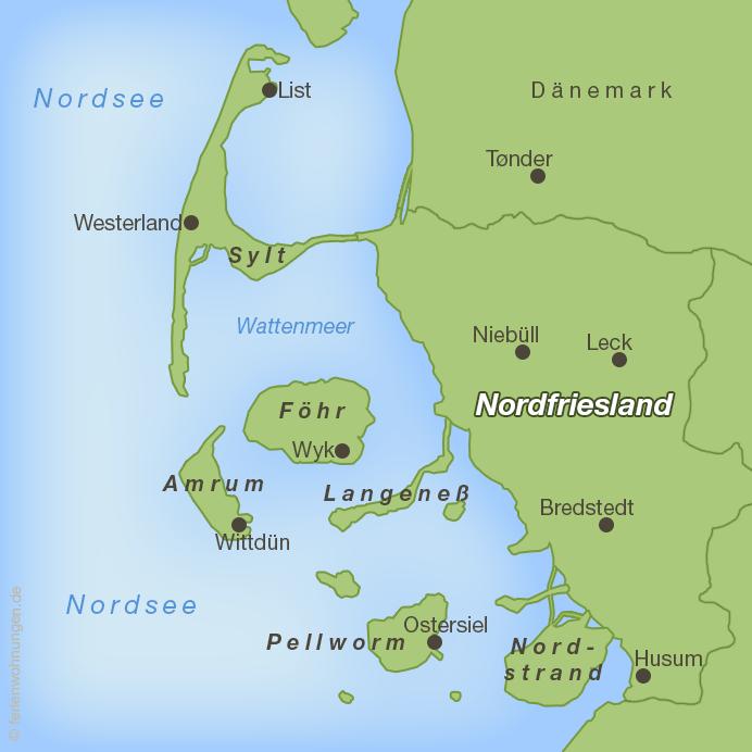 Karte zum Biikebrennen in Nordfriesland