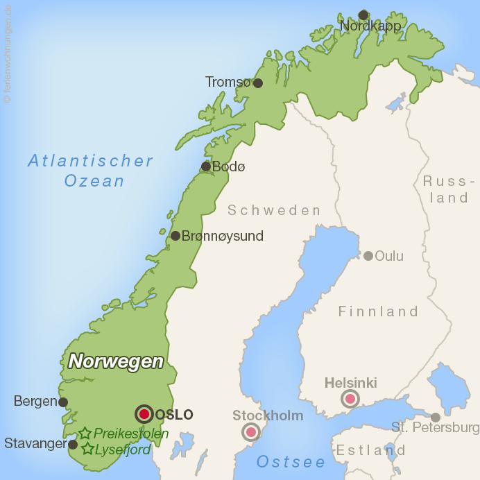 Lage von Lysefjord und Preikestolen in Norwegen