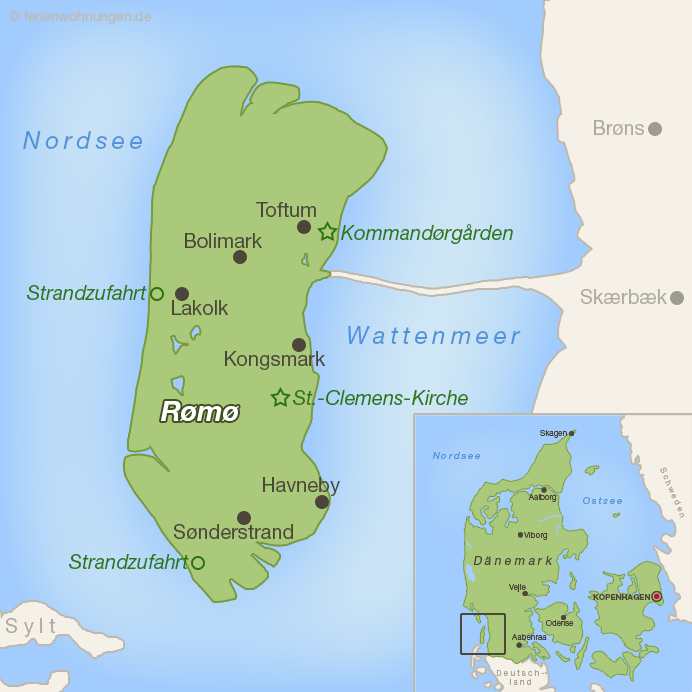 Karte der dänischen Insel Rømø