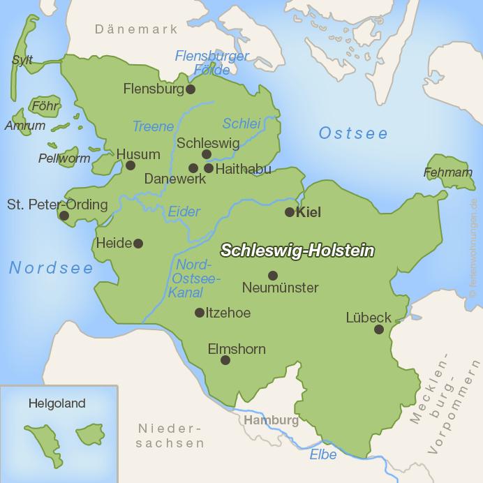 Urlaub bei den Wikingern in Schleswig-Holstein - Karte Wikinger in Schleswig-Holstein