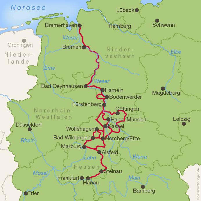 Deutsche Märchenstraße-Karte