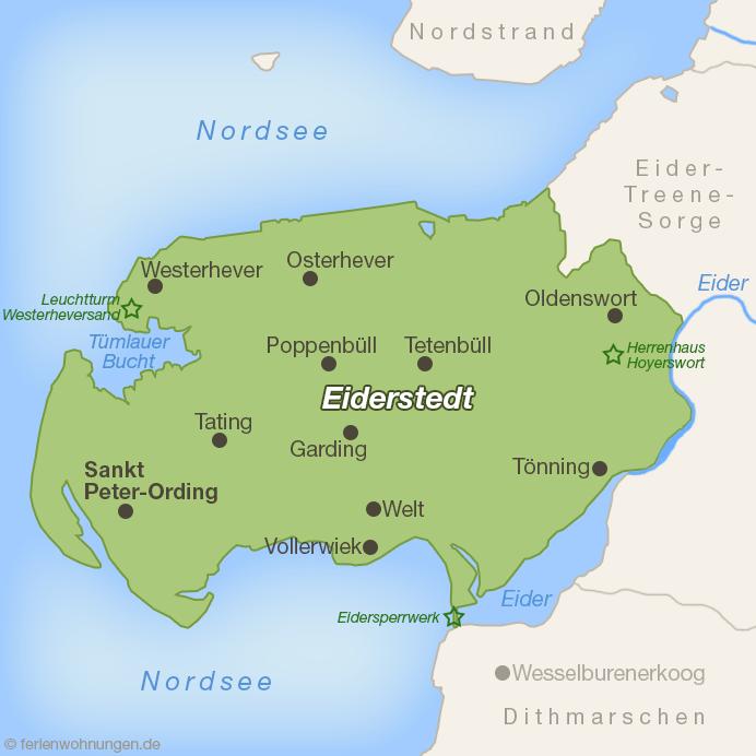 Karte der Halbinsel Eiderstedt