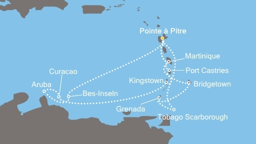 Karte von den karibischen Inseln, die angefahren wurden