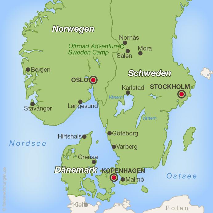 Karte von Südskandinavien