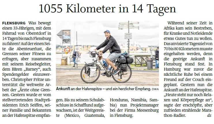 Zeitungsartikel Flensburger Tageblatt vom 21.08.2017