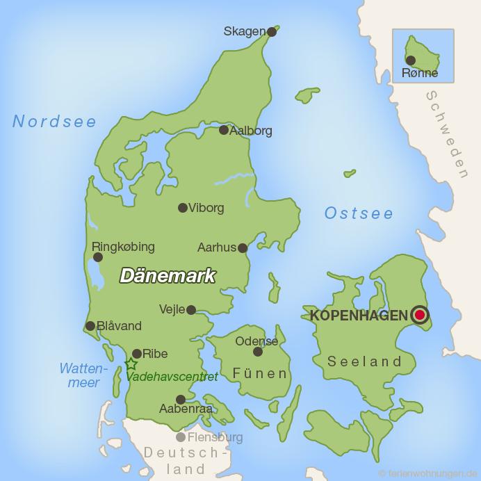 Lage des Vadehavscentret an der dänischen Nordseeküste