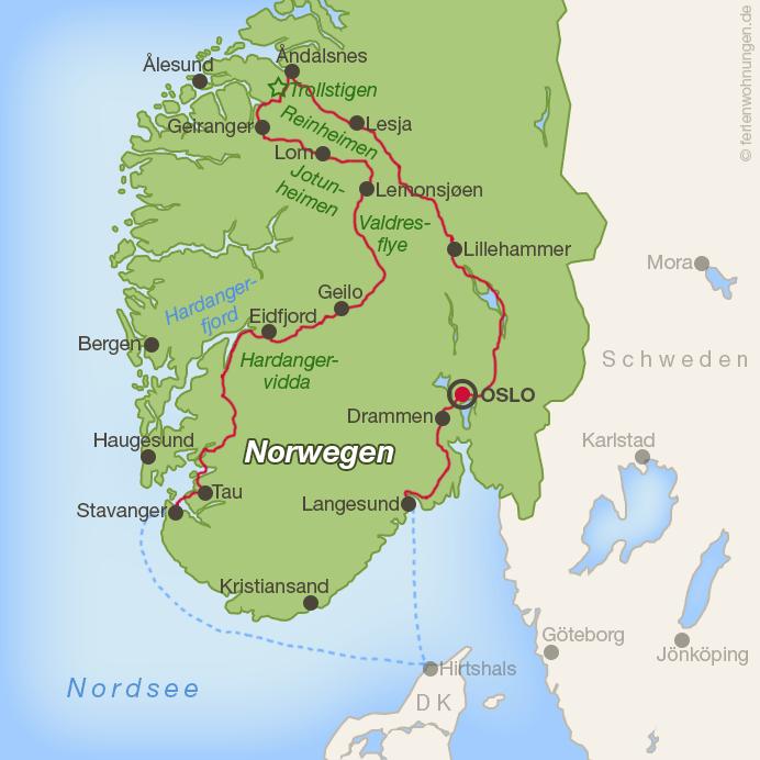 Fjordnorwegen mit dem Motorrad - Die Route durch den Süden von Norwegen