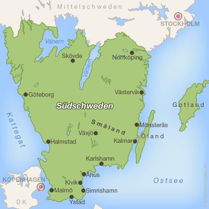 Karte Südschweden