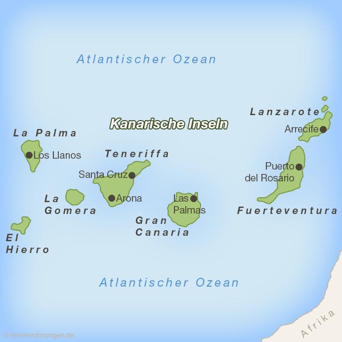 Karte der Kanarischen Inseln mit Lanzarote