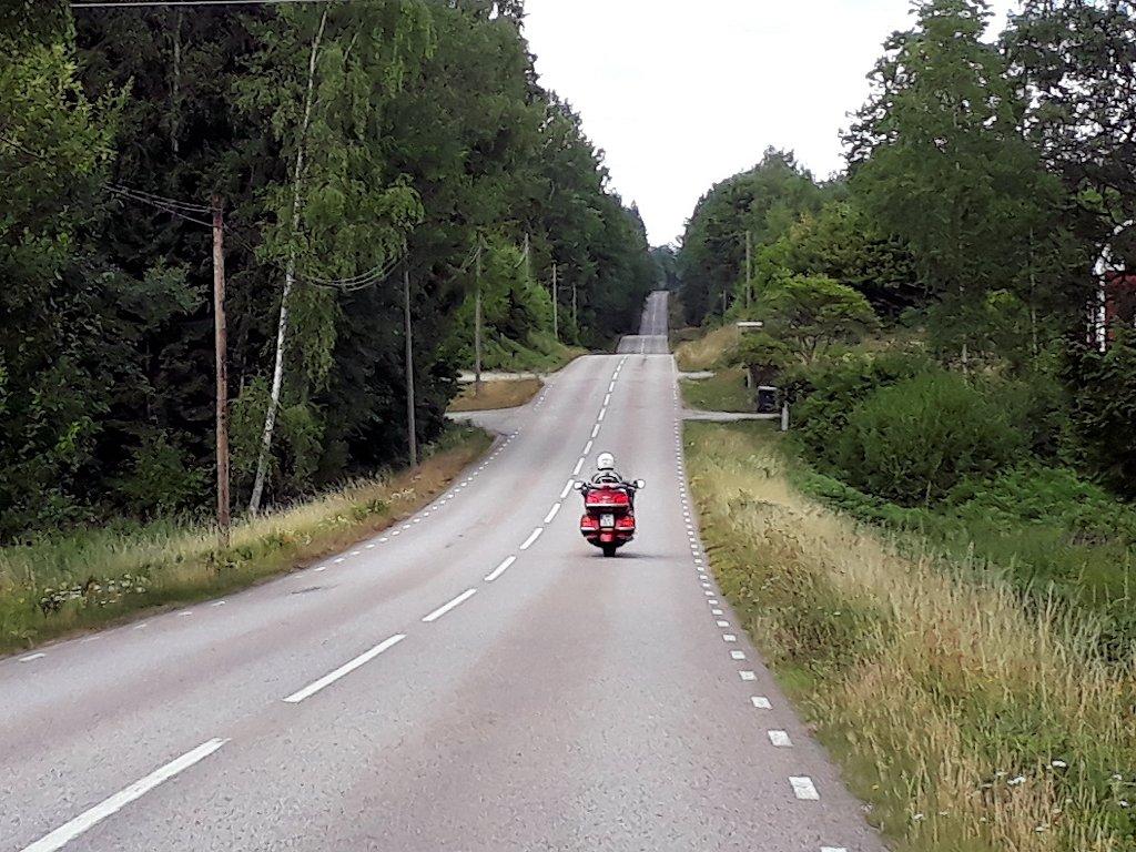 Hügelige Straße in Schweden