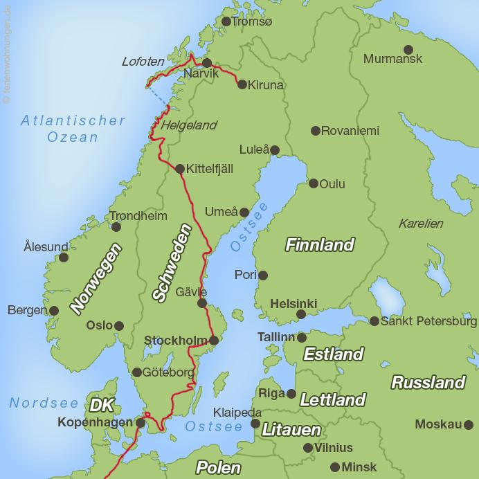 Bisheriger Verlauf der Motorradreise rund um die Ostsee