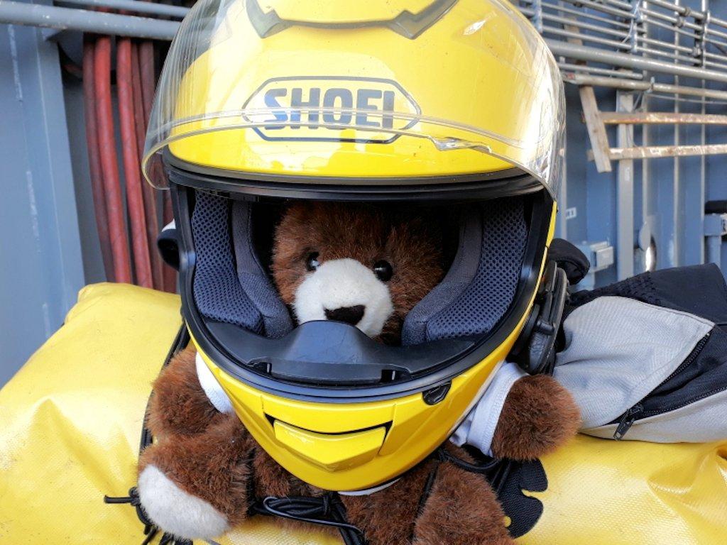 Urlaubär mit Helm