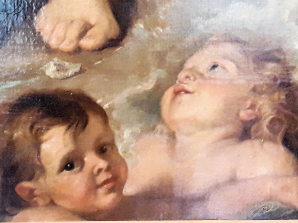 Gemäldeausschnitt mit Engelchen eines flämischen Meisters
