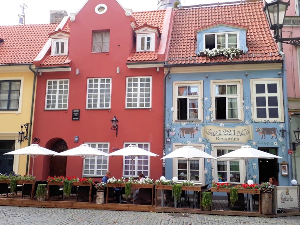 Restaurierte Häuser aus dem Mittelalter