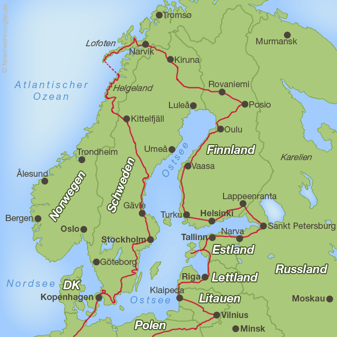 Verlauf der Motorradreise rund um die Ostsee