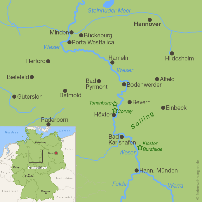 Karte Weserbergland
