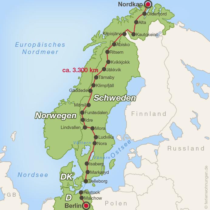 Die Strecke durch Deutschland, Schweden und Norwegen