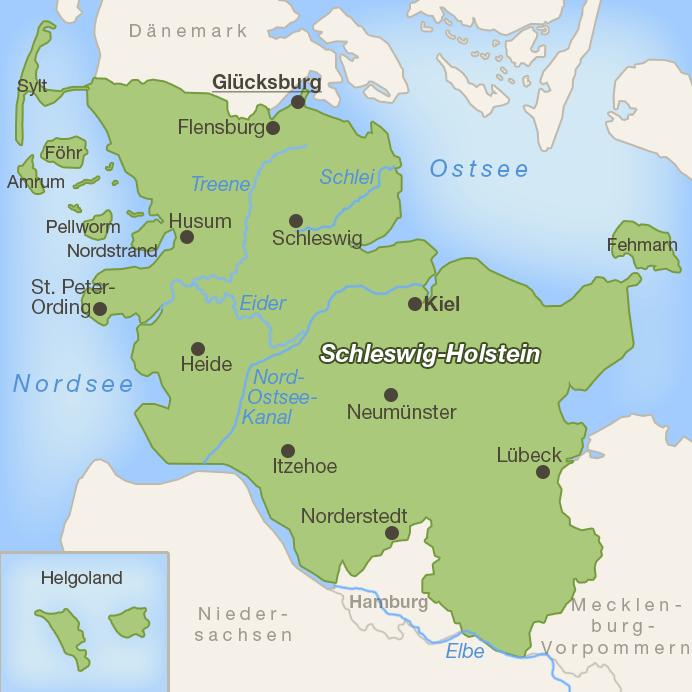 Lage von Glücksburg im Norden von Schleswig-Holstein