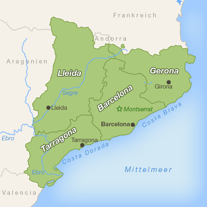 Karte Katalonien