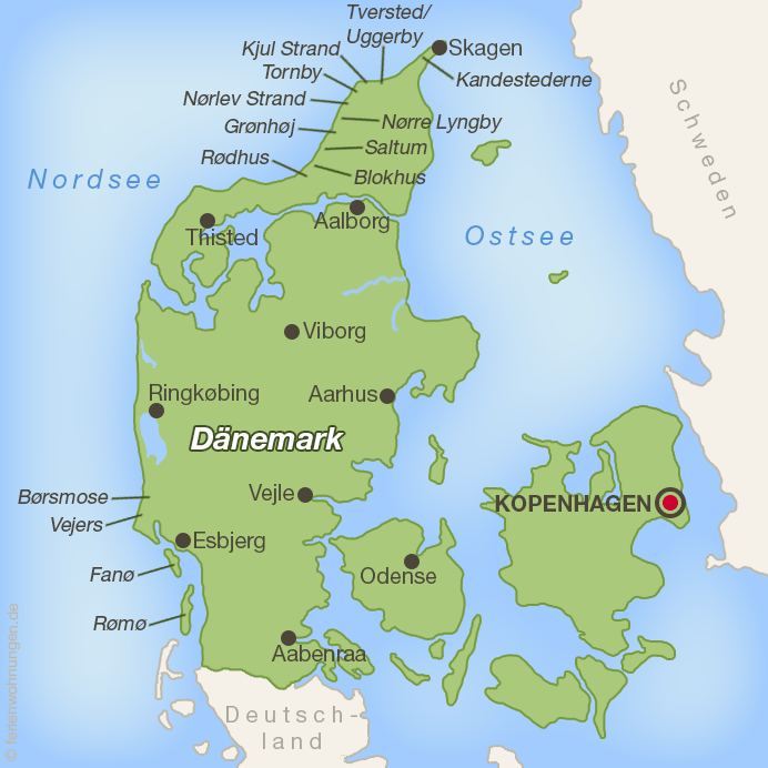 Karte aller Autostrände in Dänemark