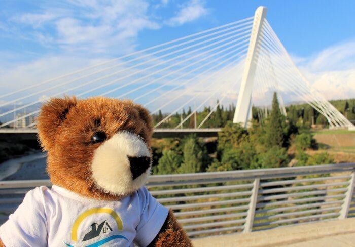 Urlaubär vor der Millennium-Brücke in Podgorica