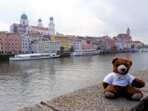 Urlaubär vor Kulisse von Passau