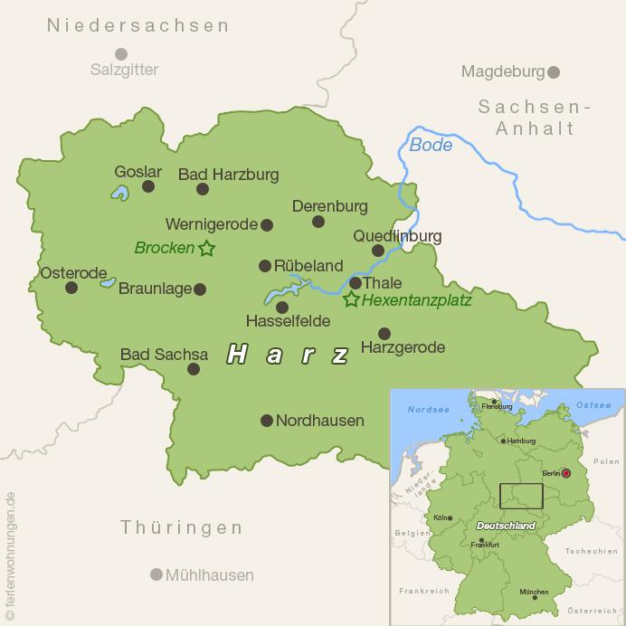 Karte vom Harz