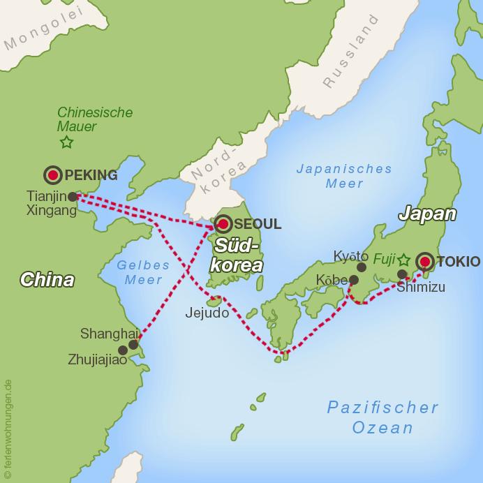 Ostasien - Kreuzfahrtroute