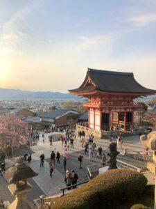 Ausblick auf Kyōto im Dämmerlicht
