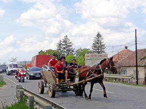 Pferdefuhrwerke sind an der Tagesordnung