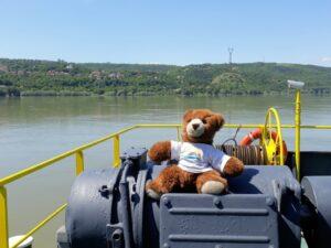 Urlaubär auf der Donaufähre nach Bulgarien